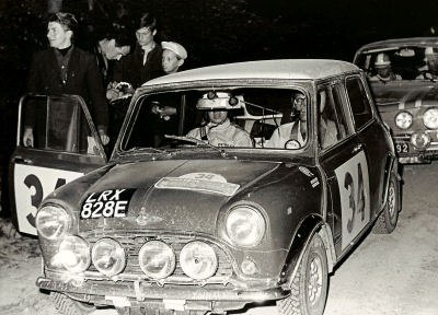 rauno aaltonen / henry liddon control point on the 1967 danube rally